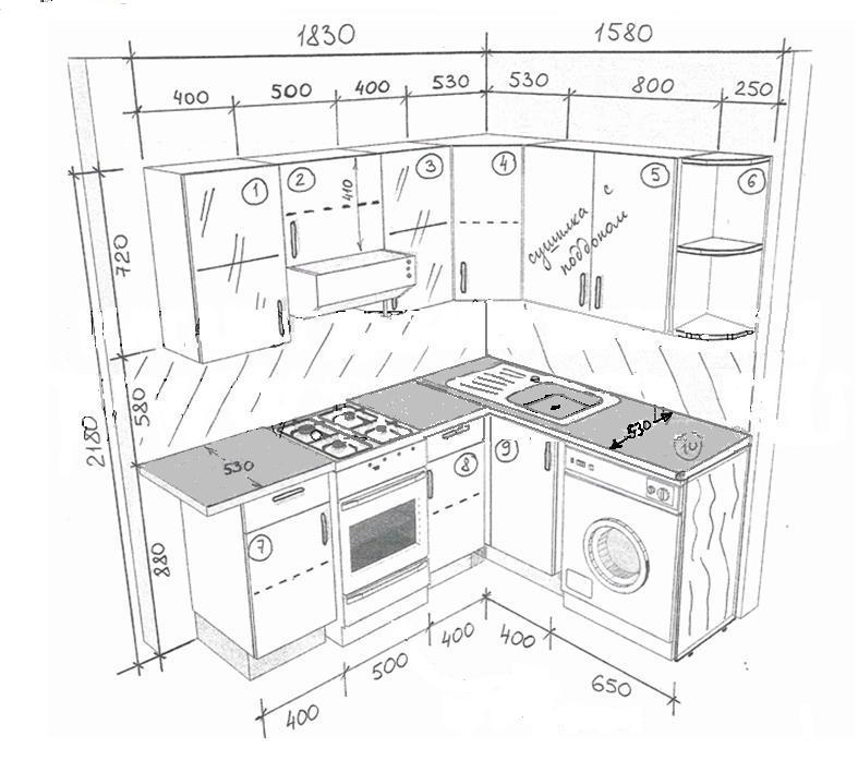 1 вариант - угловая кухня.